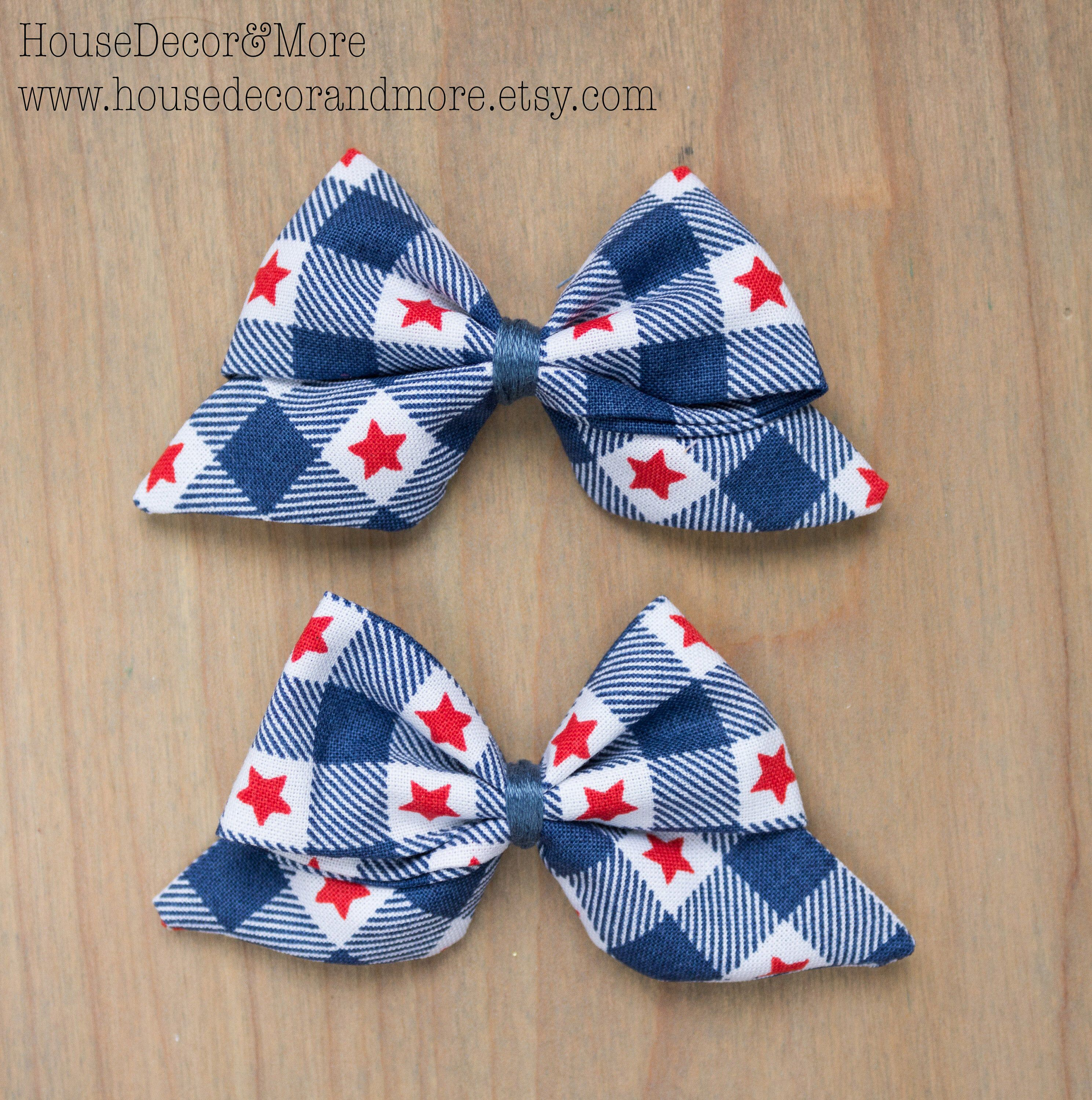 Patriotic Gingham Fabric Hair Bows - Girls Red white and blue Fabric Hair Bow - Americana Buffalo Check Fabric Hair Bow - Birthday Hair Bows