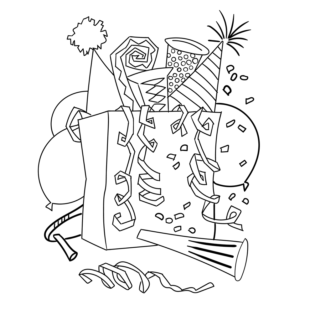 happy new year  coloring page  new year coloring