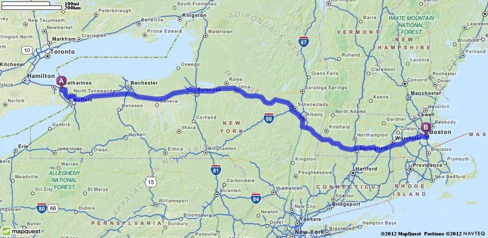 Driving Directions From Niagara Falls Canada To Boston