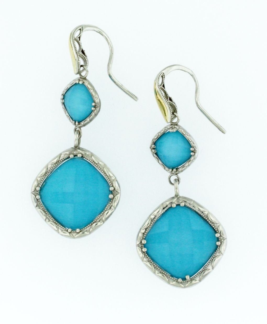 Clear Quartz over Neolite Turquoise Briolette Dangle Sterling Silver and 18K Yellow Gold Earrings by Tacori