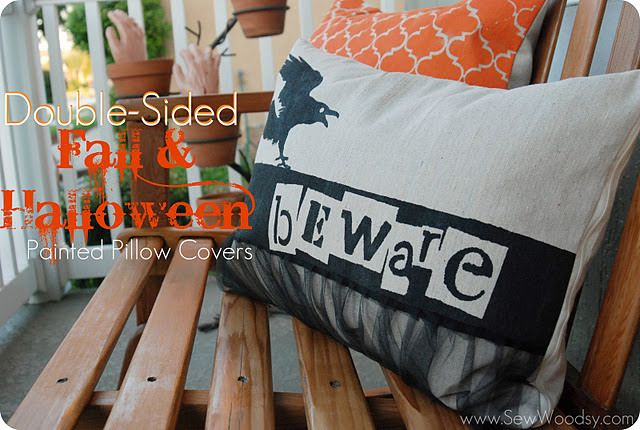 Double-Sided Fall/Halloween Painted Pillows {tutorial Halloween