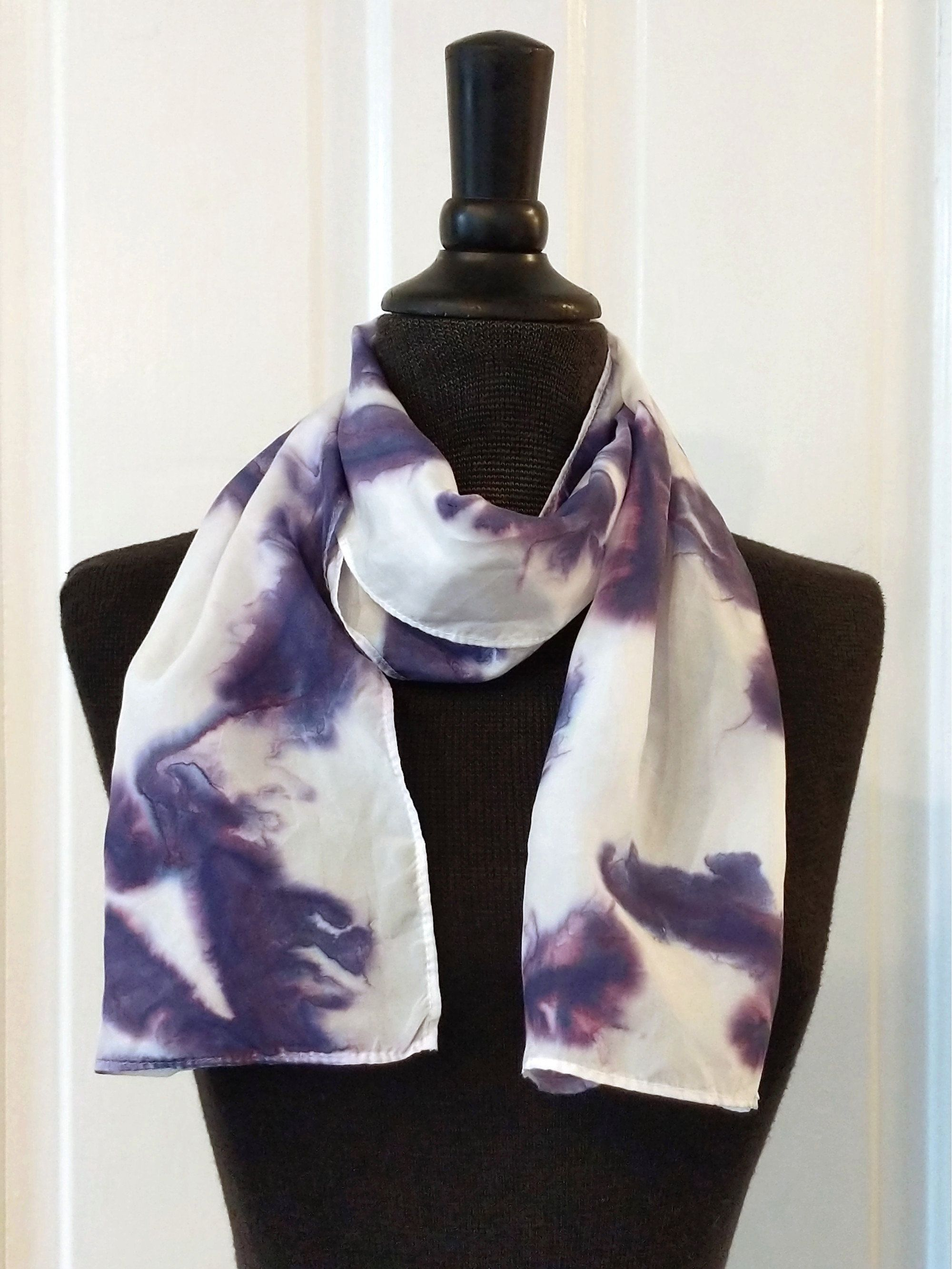 Small Silk Scarf Handpainted In Deep Purple And White 100 Silk Scarf Small Narrow 8x52 Inches Hand Washable Gift Idea For Woman Small Silk Scarf Beautiful Silk Scarves How To Dye Fabric