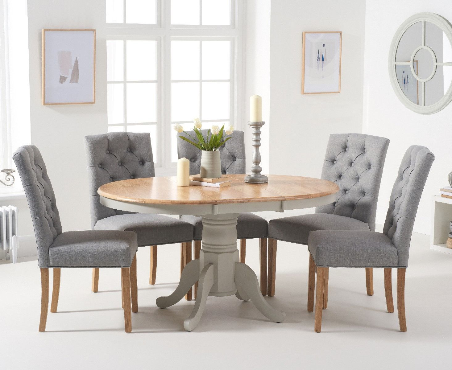 Epsom Oak And Grey Pedestal Extending Dining Table With Candice