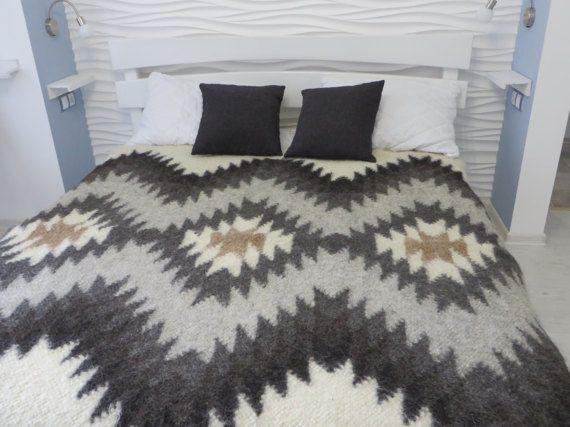 Bed CoverWool BedspreadWool ThrowBed Throw BlanketWoven Coverlet