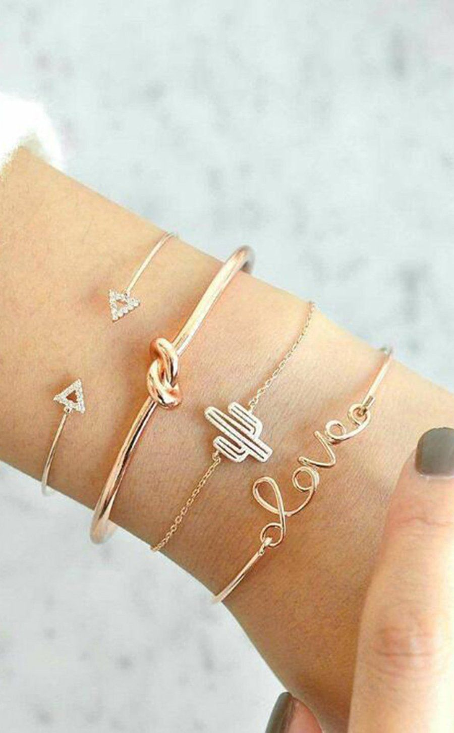 LyWill Love Bracelet Set for Women Knot Arrow Cuff Cactus Love Charm Bangle for Girl with Gold Tone