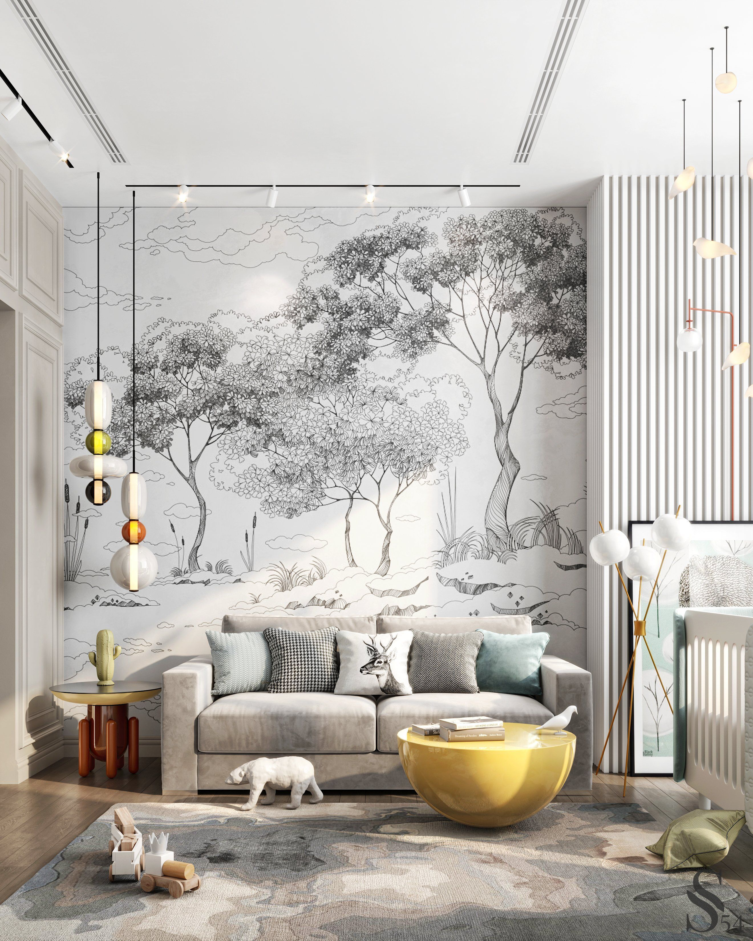 Unusual prints on the wallpaper, interesting chandeliers and lamps