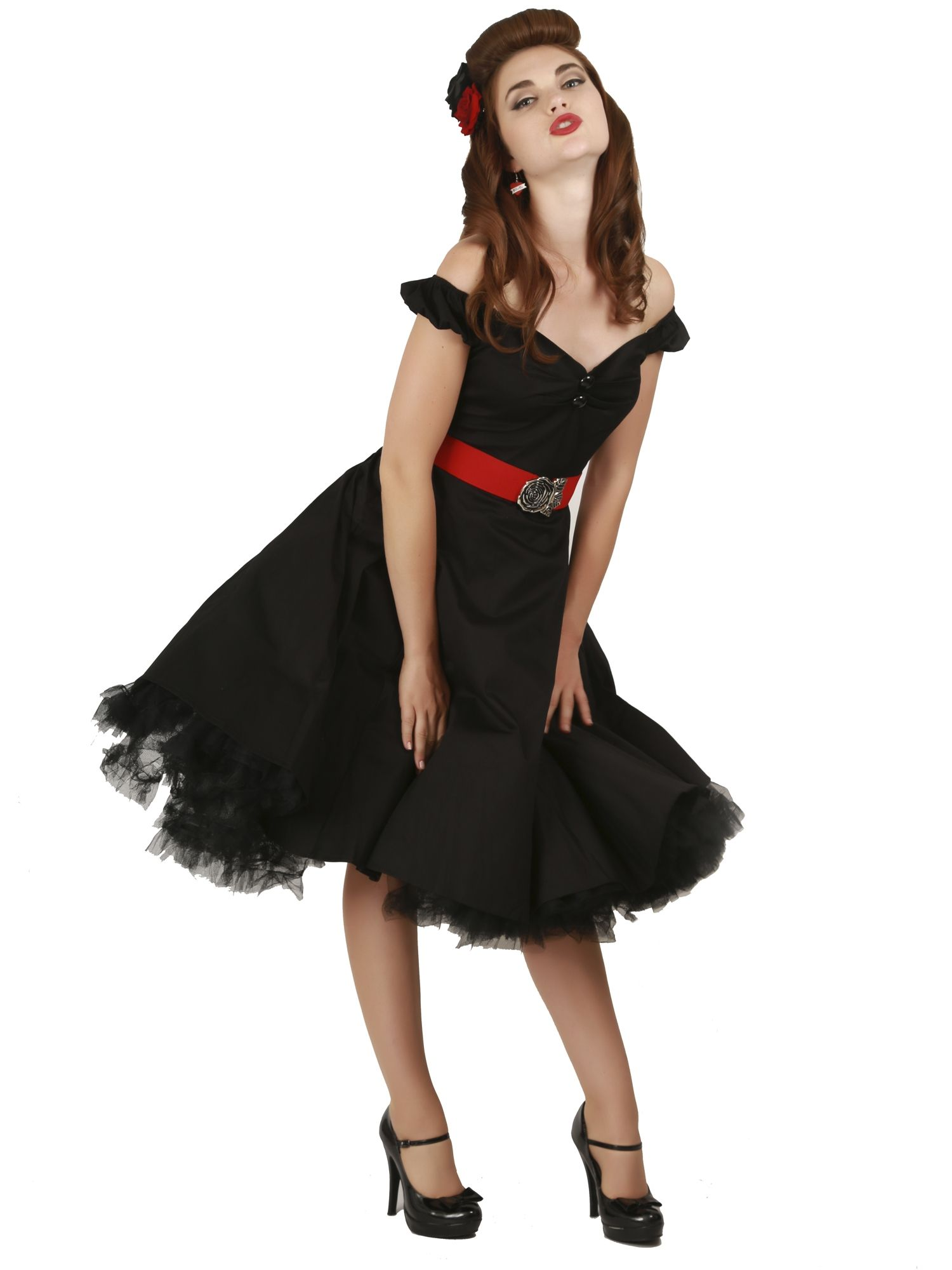 Dolores doll classic cotton black swing dress with red rose belt