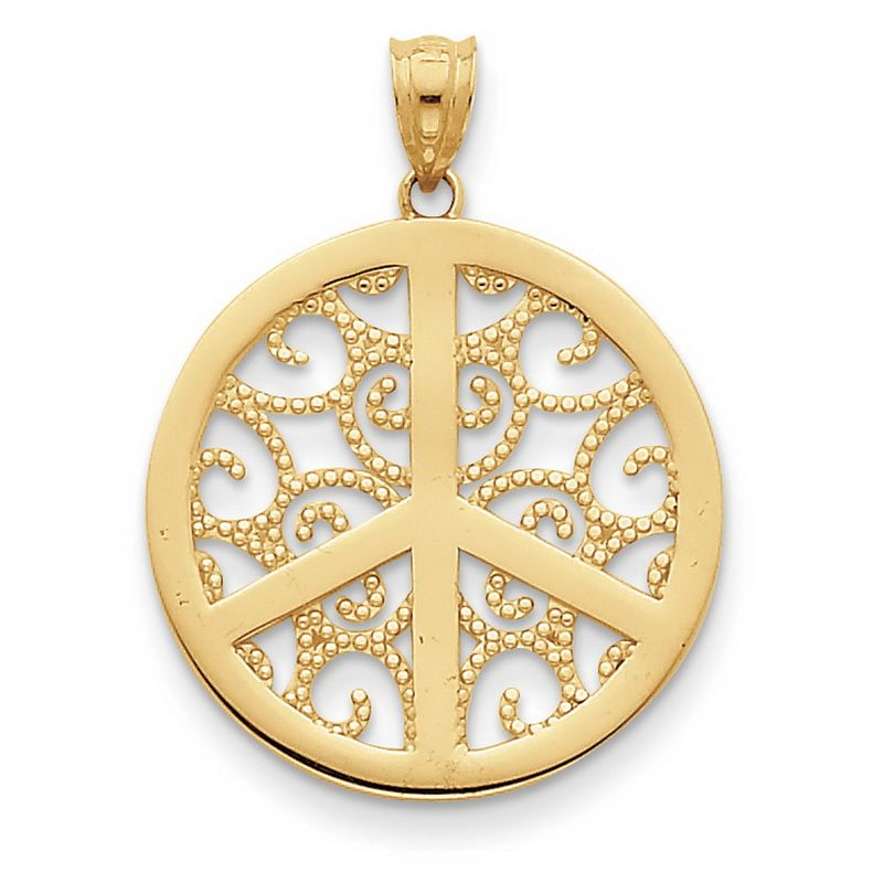 14k yellow gold filigree peace sign pendant lorrie pinterest peace 14k yellow gold filigree peace sign pendant mozeypictures Image collections