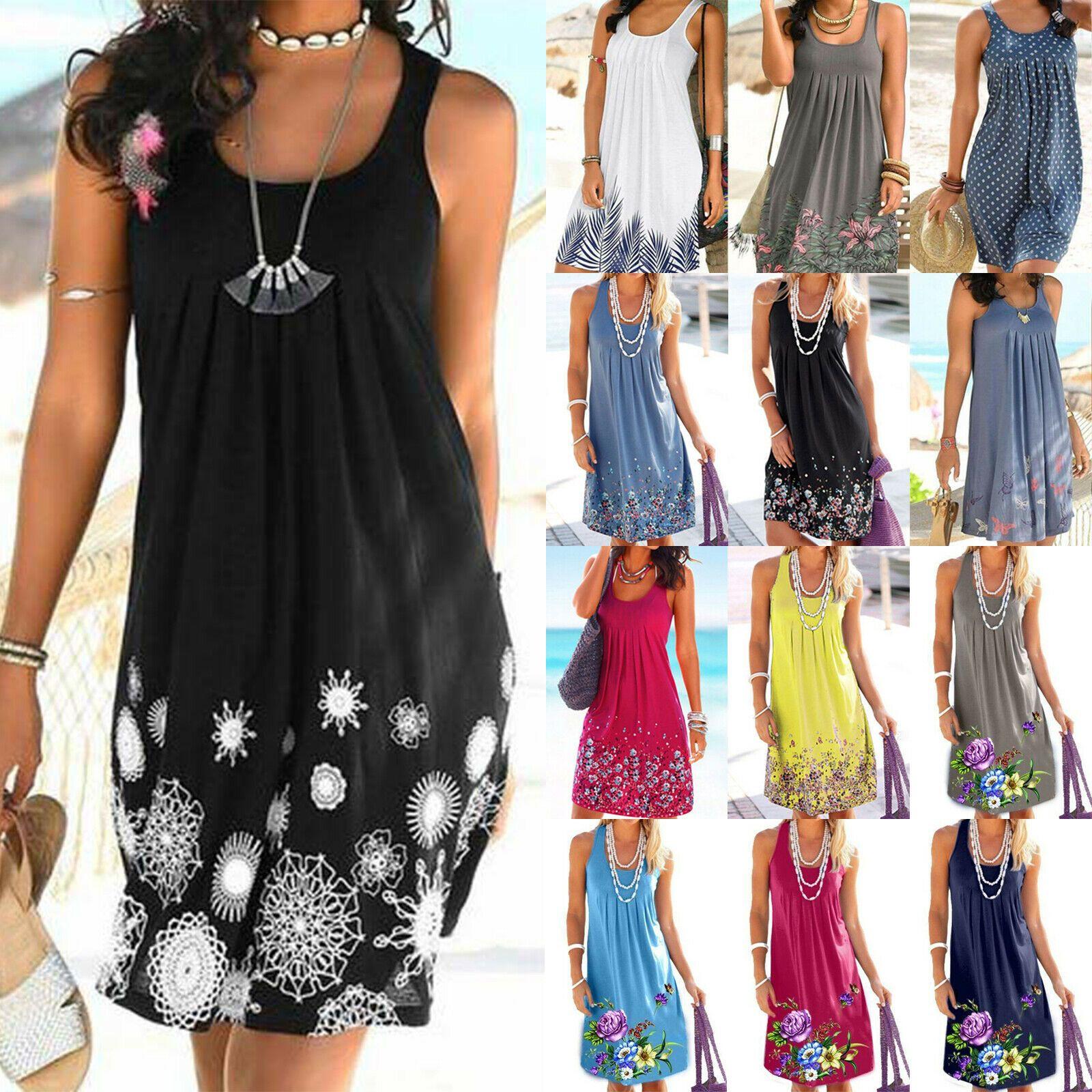 Damen Sommer Boho Kleid Strandkleid Minikleid Ärmellos Partykleid Longtop Bluse