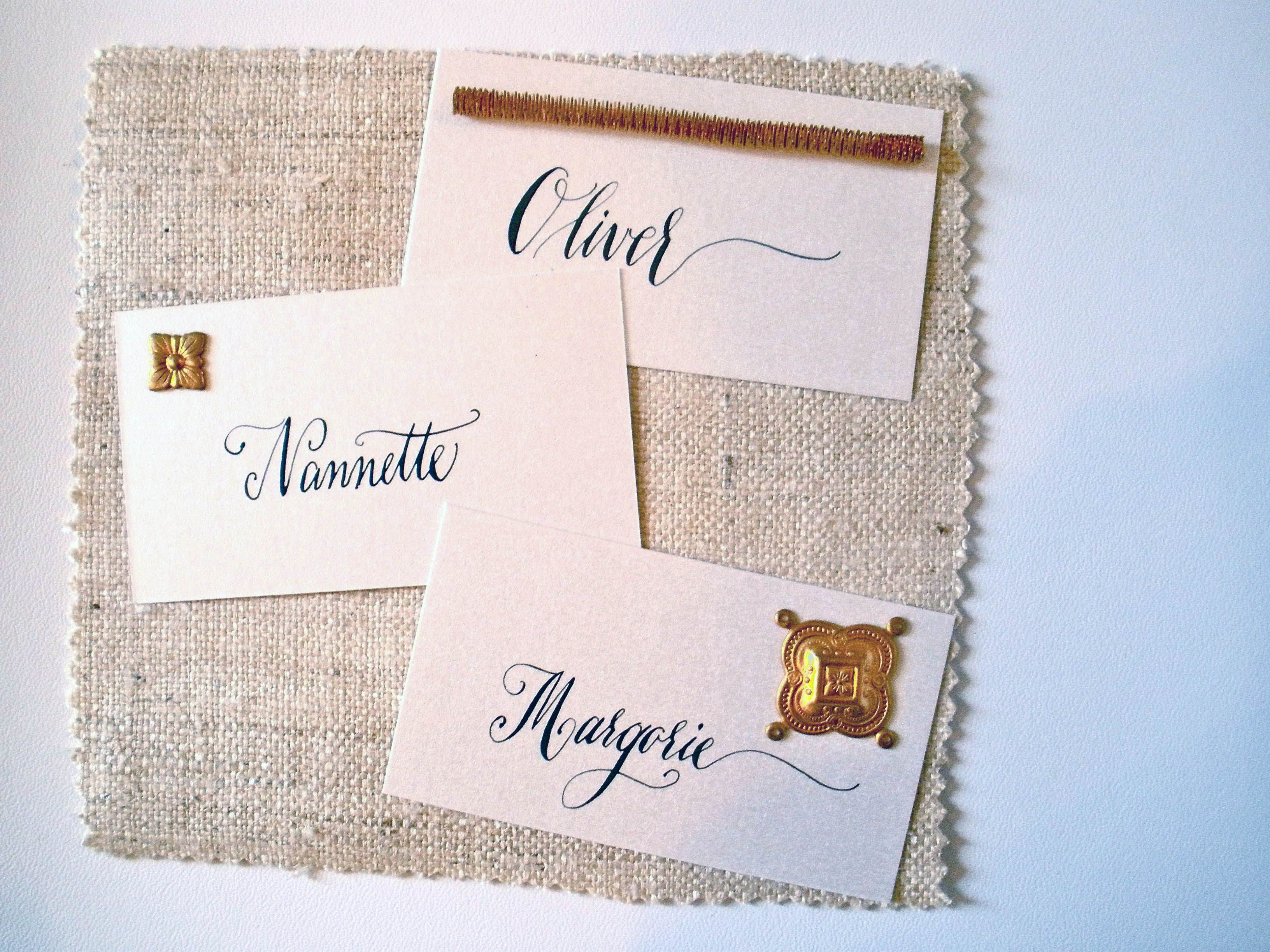 Calligraphy Place Cards With Gold Charms