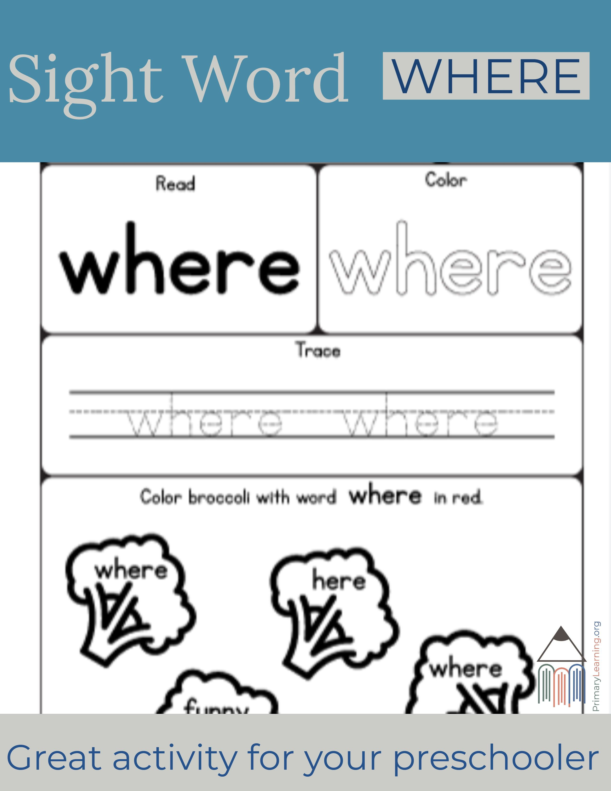 Sight Word Where Worksheet