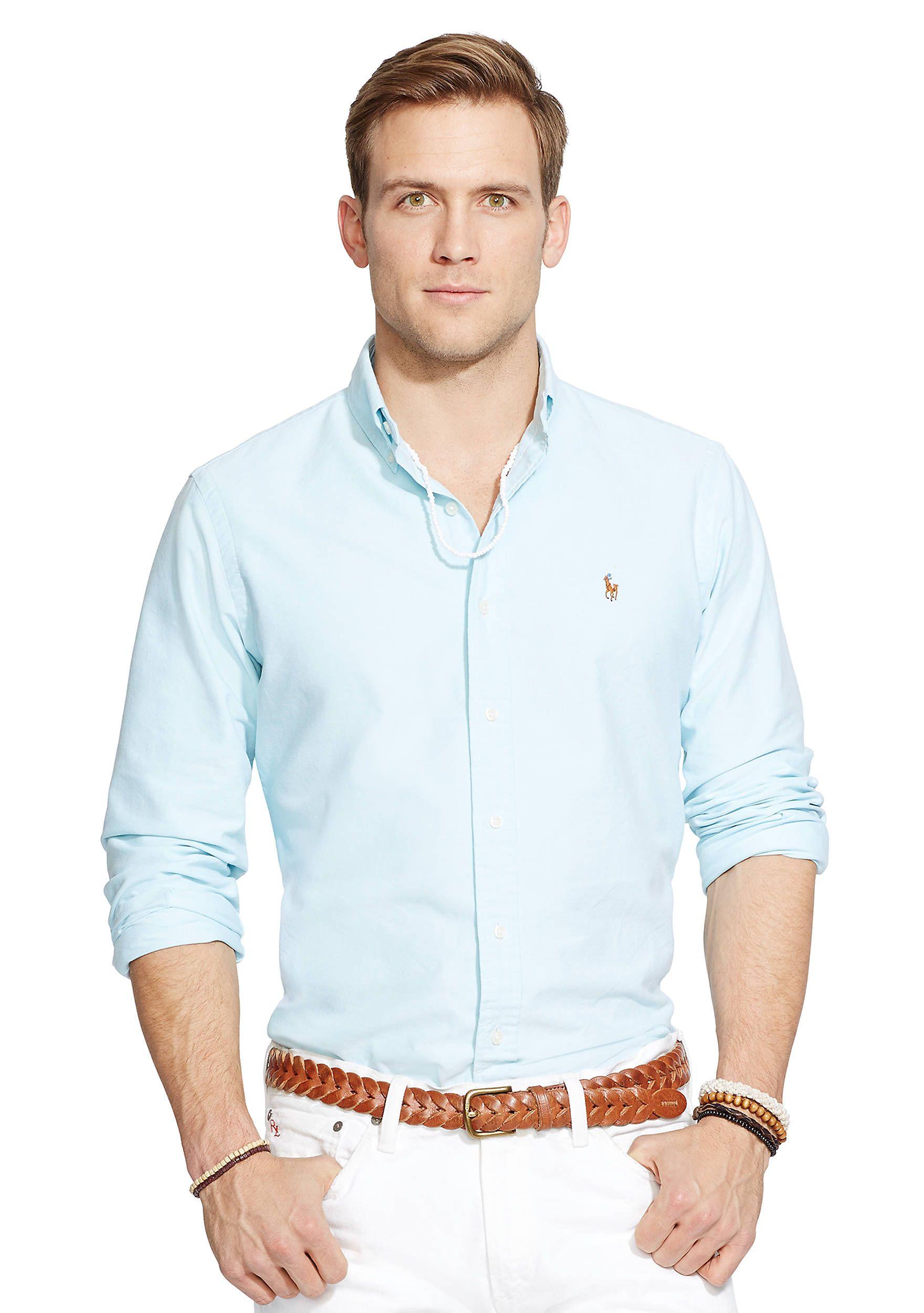 Polo Ralph Lauren Oxford Shirt Blue Men Shirts Casual Clearance Sale