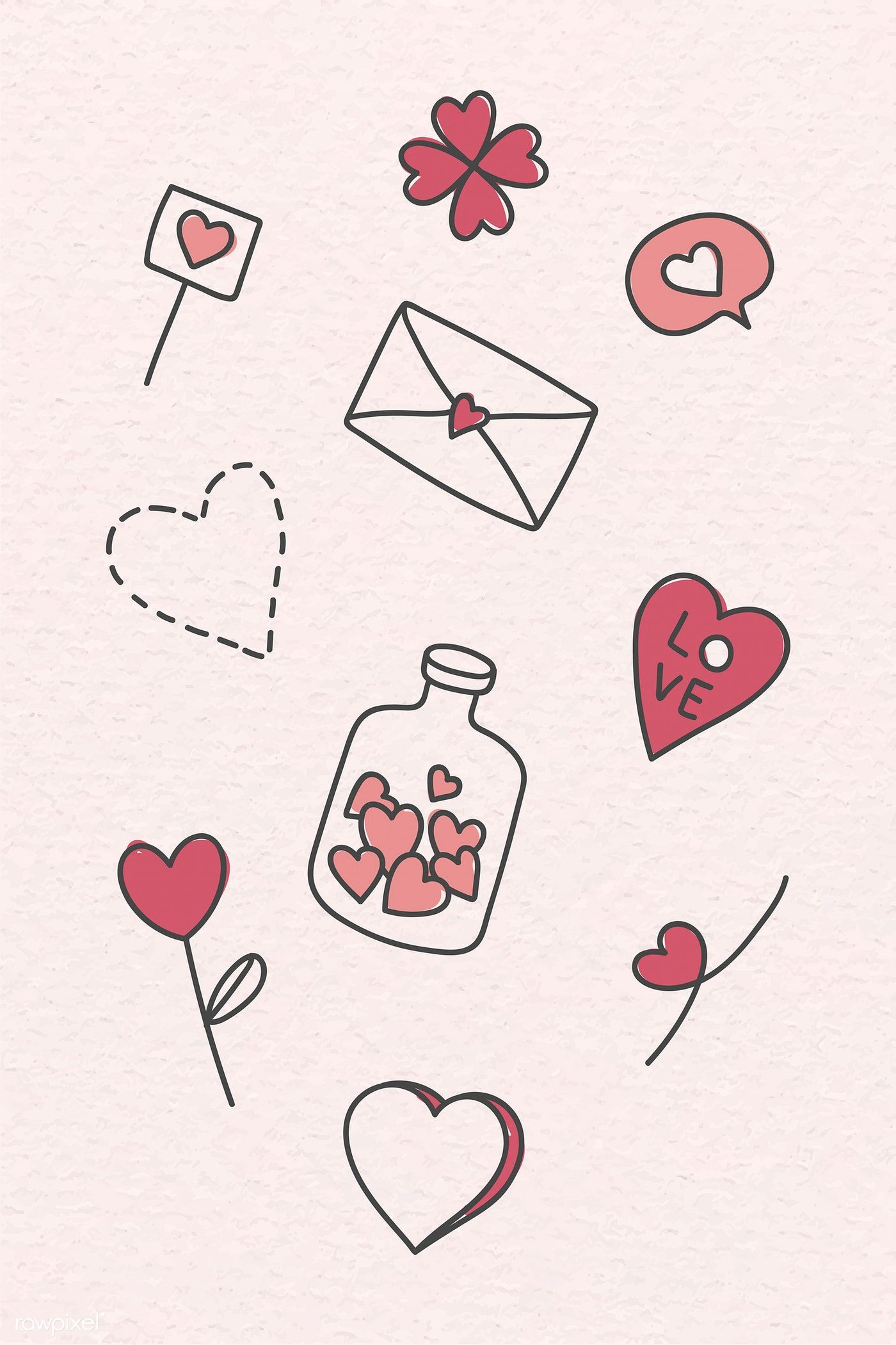 Download premium vector of Hand drawn love and valentine's day doodle