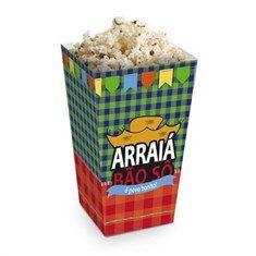 Cromus Arraiá Festa Junina - Caixa para Pipoca 10 unidades