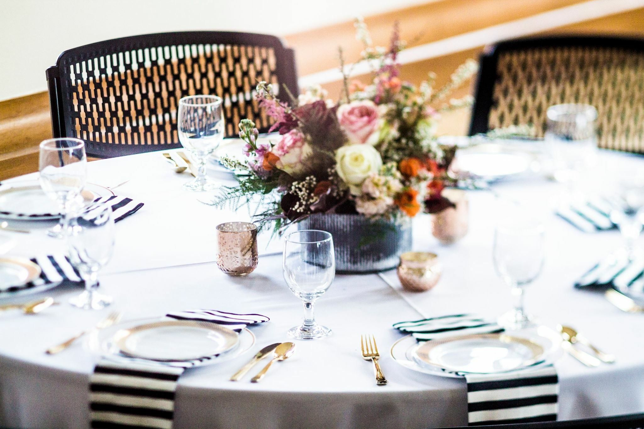 Wedding Table Decor Black And White Striped Napkins Gold Decor