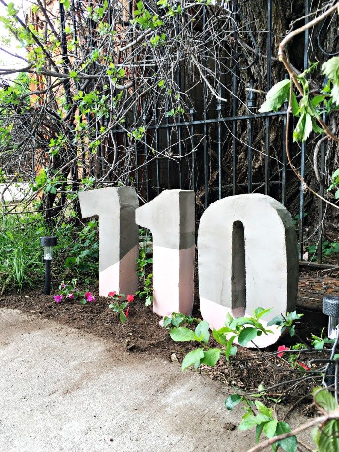 Awesome Large House Numbers Made From Painted Cement Ajoyfulriot.com