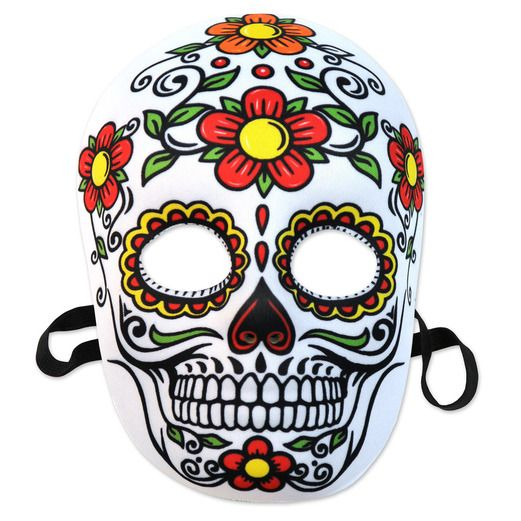 """4 BEISTLE HALLOWEEN DAY OF THE DEAD MASKS WITH ELASTIC 12/"""""""