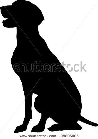 A Silhouette Profile View Of A Sitting German Pointer Stock