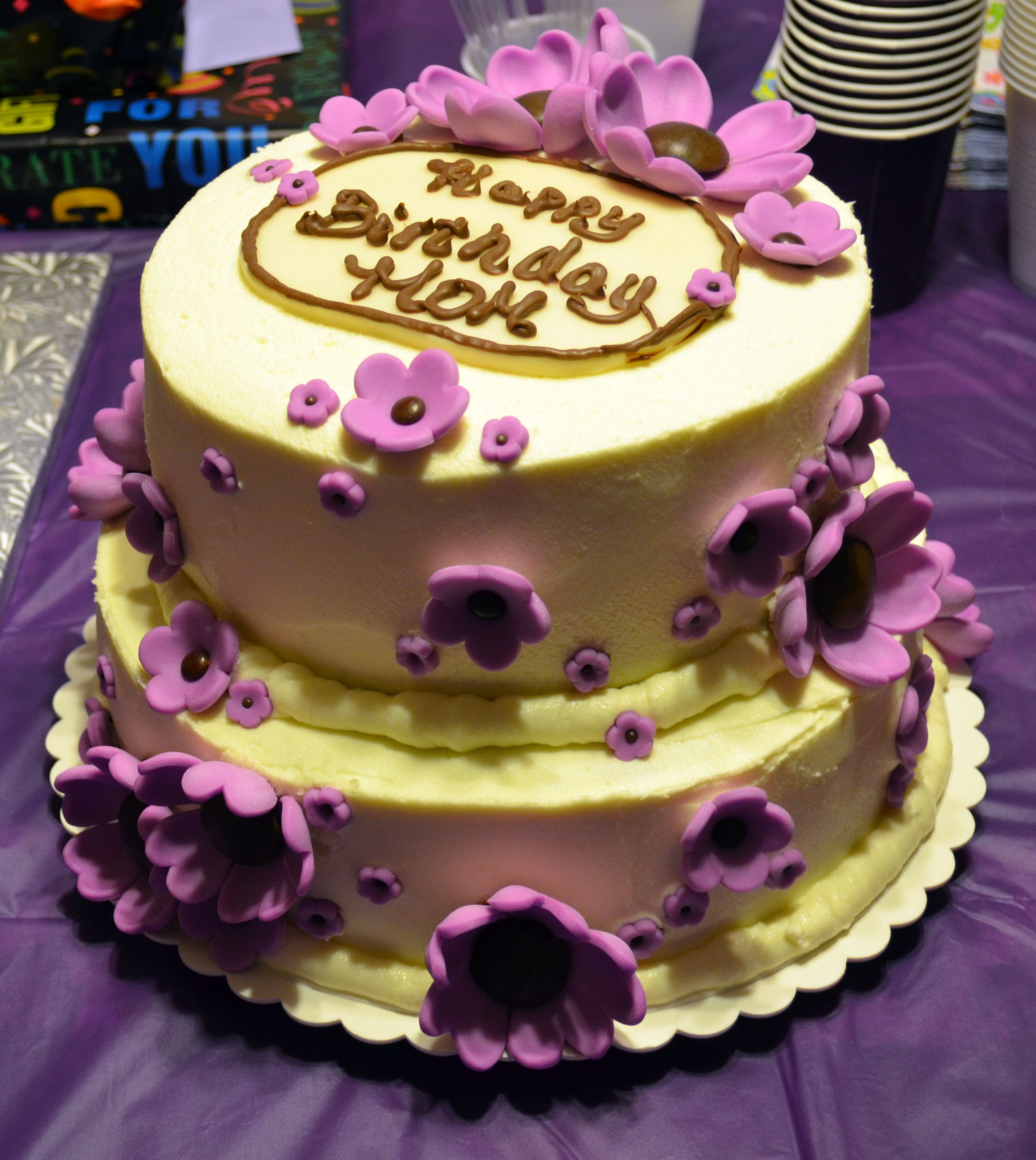 Purple flower cake For Terrys birthday 2layer 8 inch round