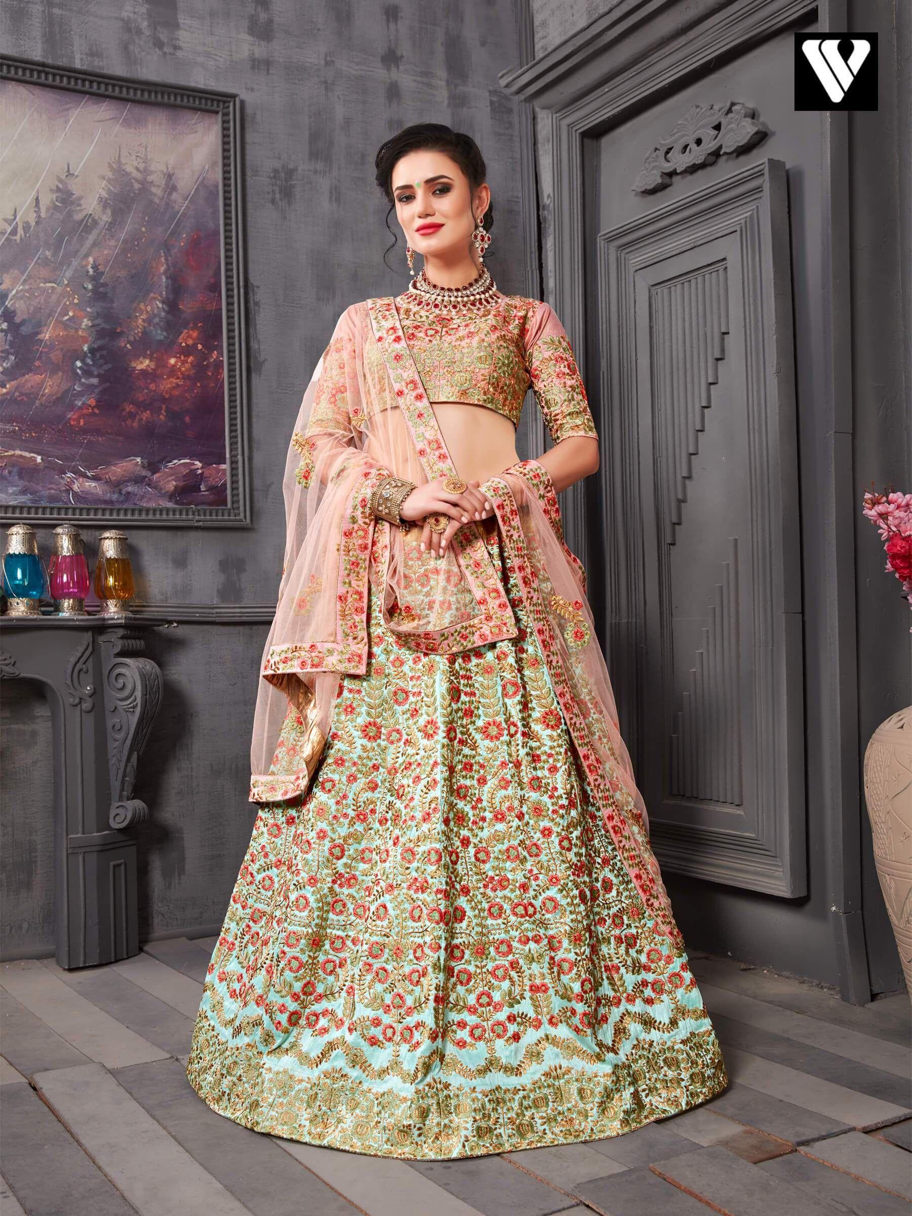 bd2cdd03e8 Adorable Dark Salmon Phantom Silk Wedding Lehenga Choli – Vesture Vogue