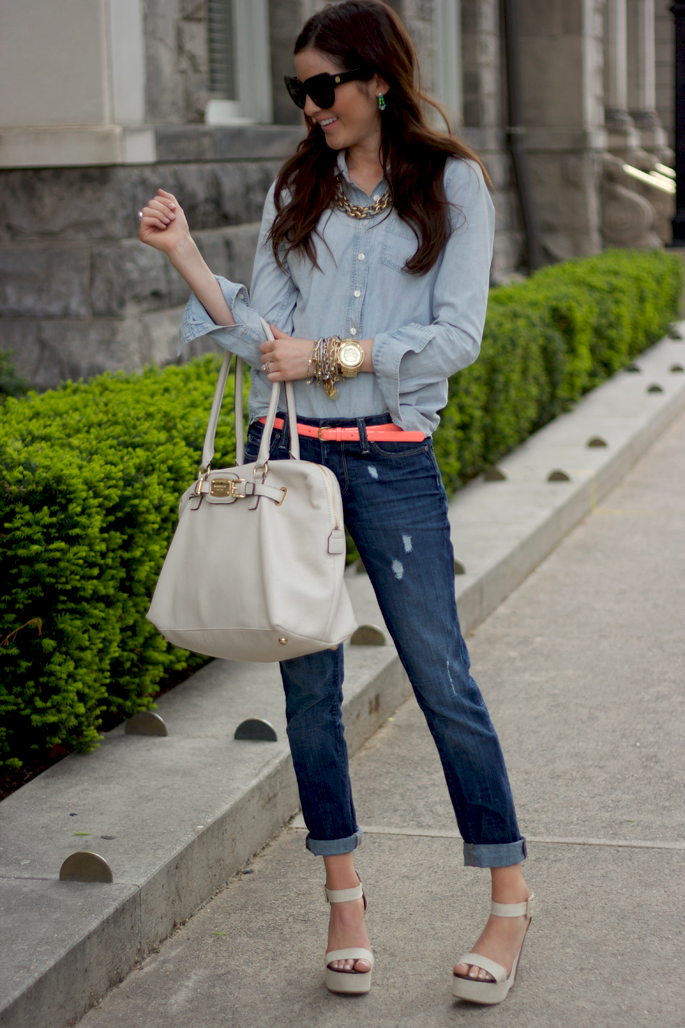 outfit by Pink Peonies. I just love it when I can do a version of bloggers' outfits! light chambray + dark denim + coral belt