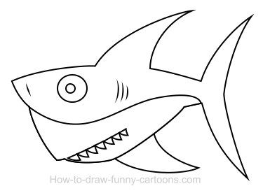 drawing a shark cartoon - Cartoon Outline Drawings