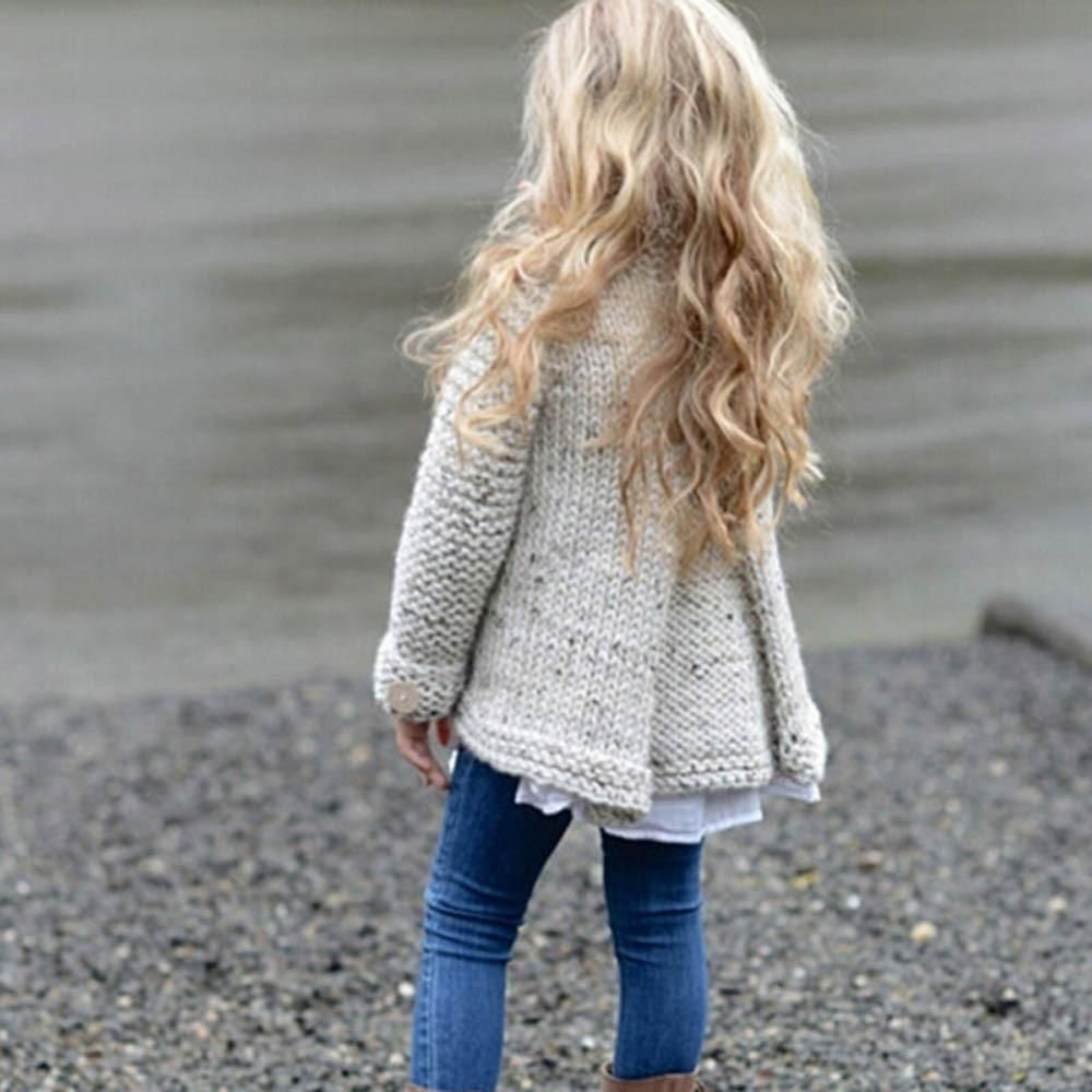 Sunbona Toddler Baby Girls Cute Autumn Button Knitted Sweater Cardigan Warm Thick Cloak Coat Clothes