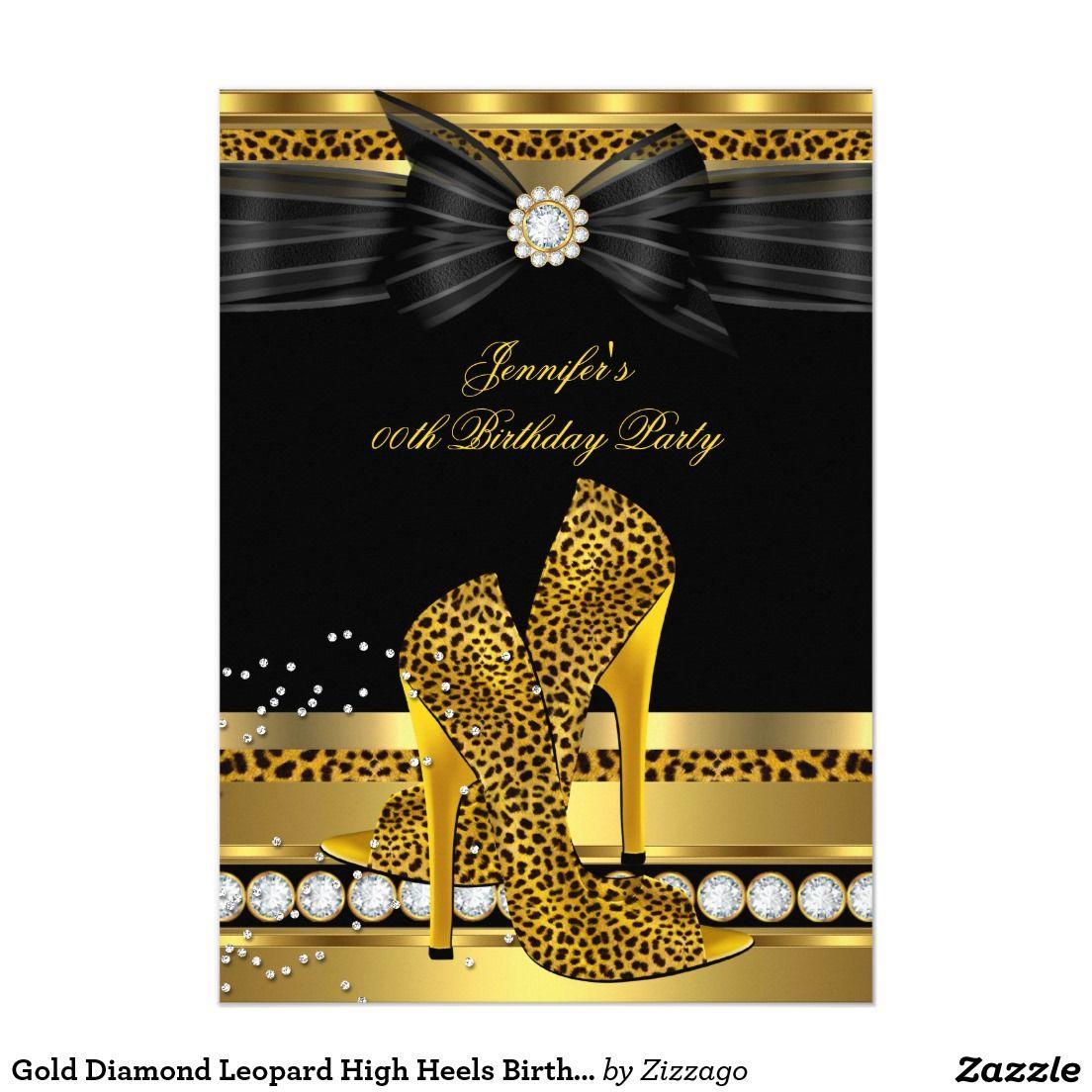 Gold Diamond Leopard High Heels Birthday Party 5x7 Paper Invitation ...