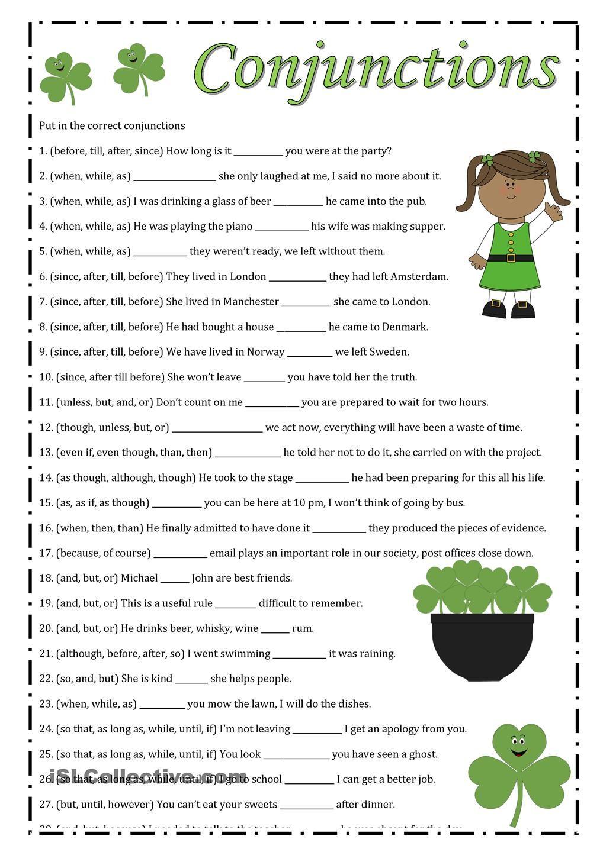 Worksheets Conjunctions Worksheets conjunctions pinterest worksheets printable conjunctions