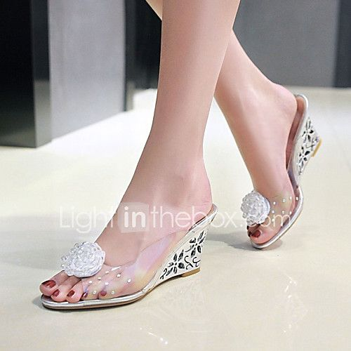 0215161c9464 Women s Shoes PVC Spring Summer Sandals Wedge Heel Peep Toe Flower for  Casual Dress Party   Evening Gold Silver 2018 -  28.99
