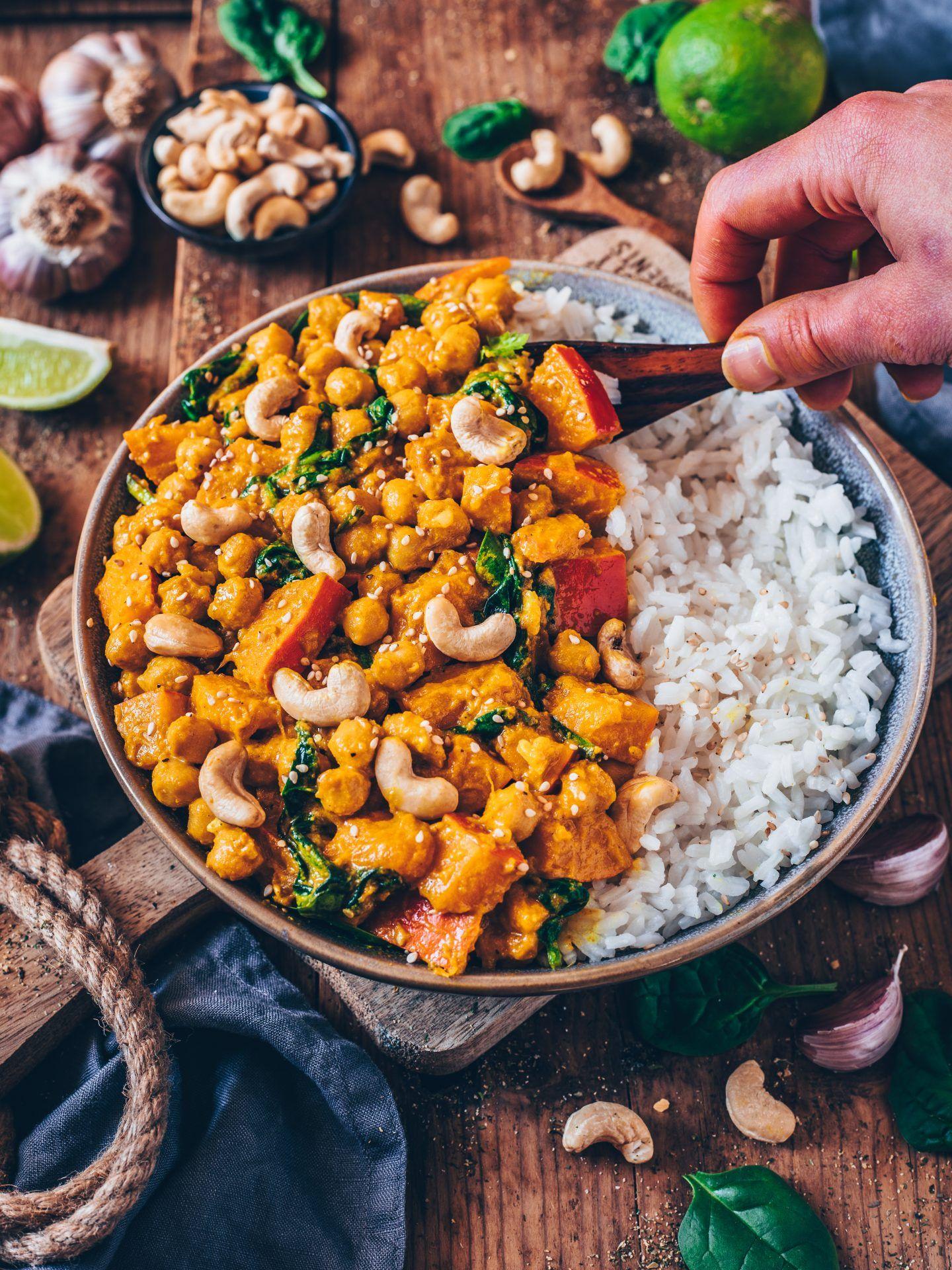 Kürbis-Kichererbsen-Curry (vegan, einfaches Rezept #foodsides