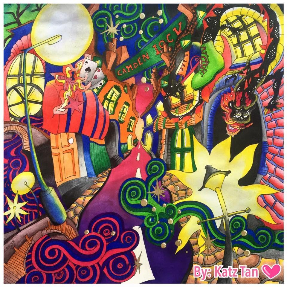 Colored By Katz Tan Book Magical City Medium Used Watercolor Pencil
