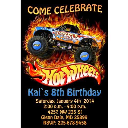 fire hot wheels birthday party invitations Jaden Hot Wheels