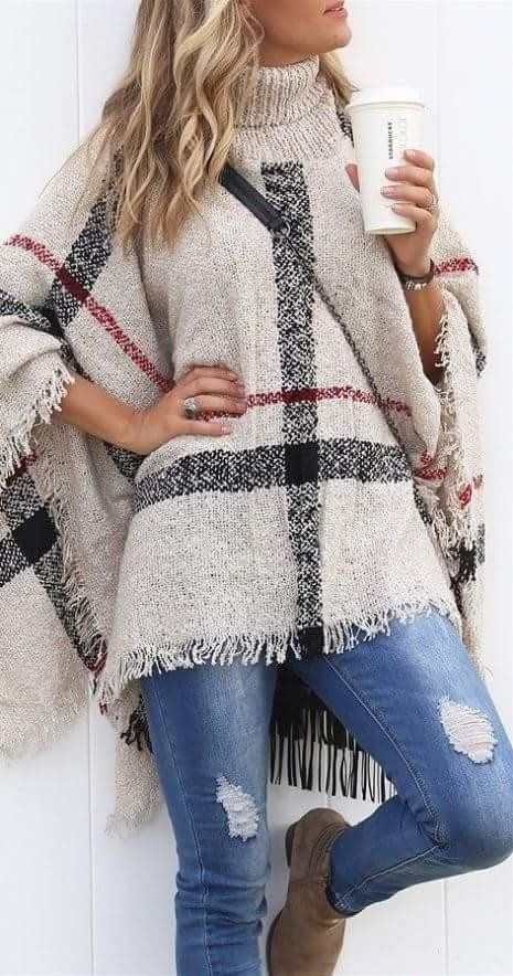 Women's Plus Size Acrylic Sweater Turtleneck Pullover Poncho Plaid Pattern