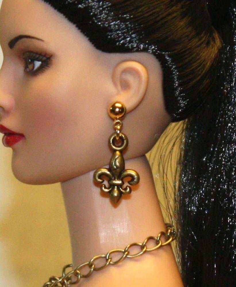 """Fluer-de-Lis"" AGP Earrings for Tonner Tyler Ellowyne Dee Anna AM Gene Sybarite"