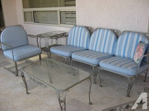 Charming Vintage Wrought Iron Patio Furniture Reversible Cushions Heavy 8 Pcs For  Sale In Bonita Springs,