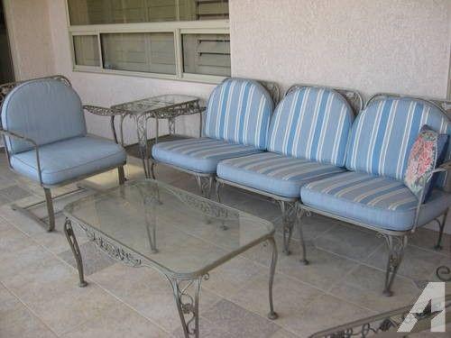 Vintage Wrought Iron Patio Furniture Reversible Cushions Heavy 8 Pcs Iron Patio Furniture Wrought Iron Patio Furniture Patio Furniture For Sale