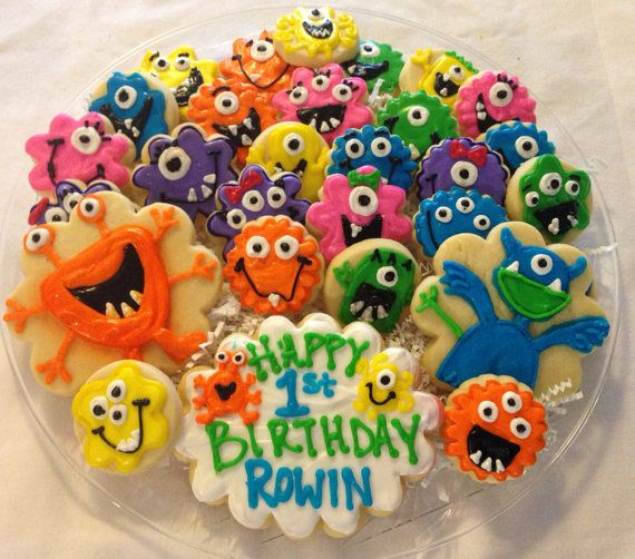 Monster Birthday Cookie Tray On Etsy, $35.00