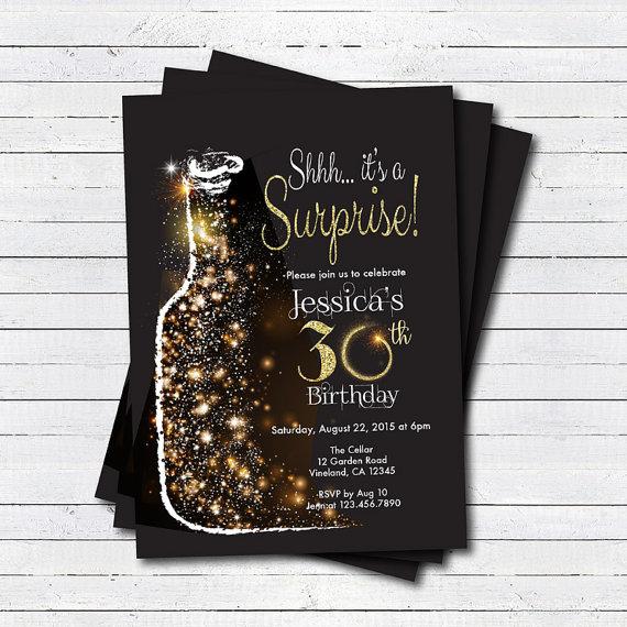 Surprise 30th Birthday Invitation Glam Black And Gold Glitter Sparkling Wine Champagne 40th