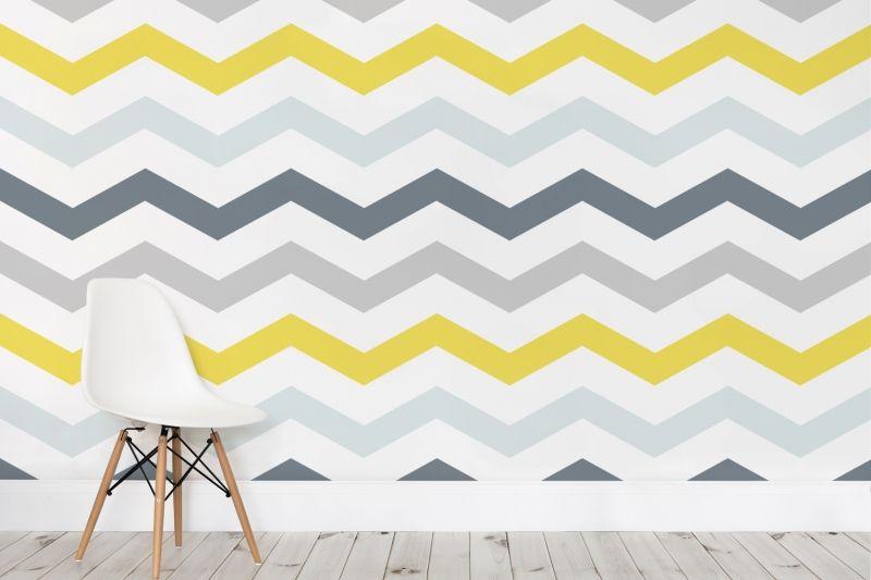 Yellow Chevron Wallpaper Yellow Grey Zig Zag Muralswallpaper In 2021 Modern Baby Room Grey Chevron Wallpaper Girls Bedroom Grey