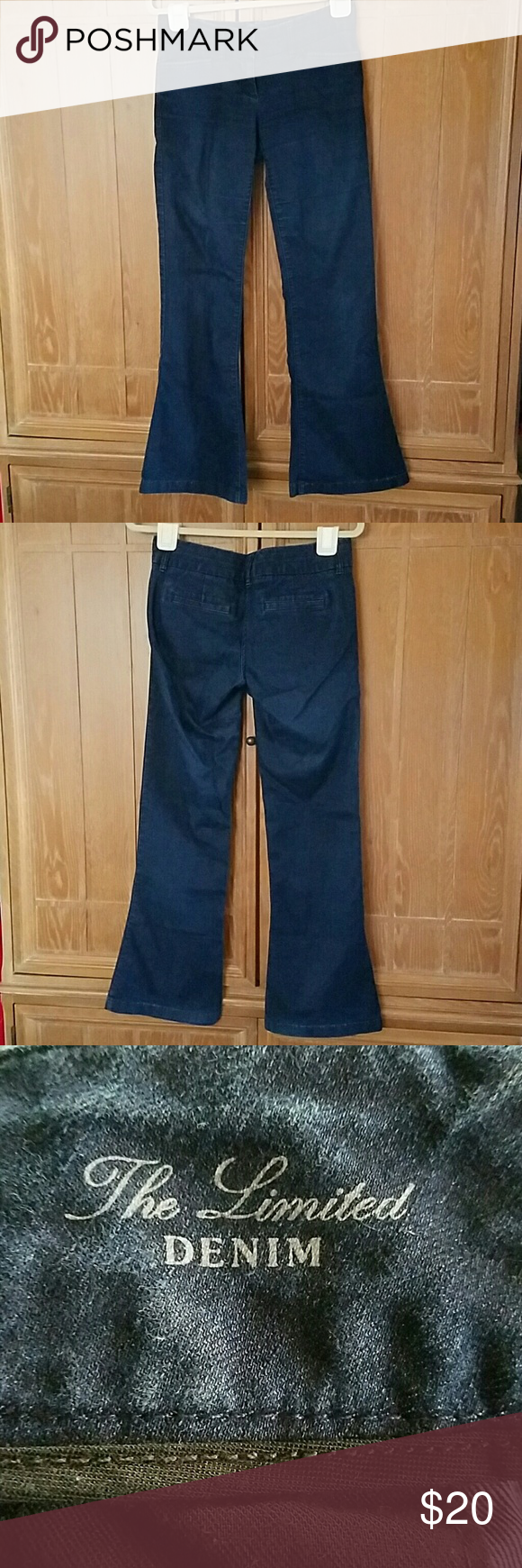 The limited denim jeans Boot cut limited jeans. 4 pockets and belt loops. 79% cotton 21% elasrarell-p. These jeans have a double slide and button closure. The Limited Jeans Boot Cut