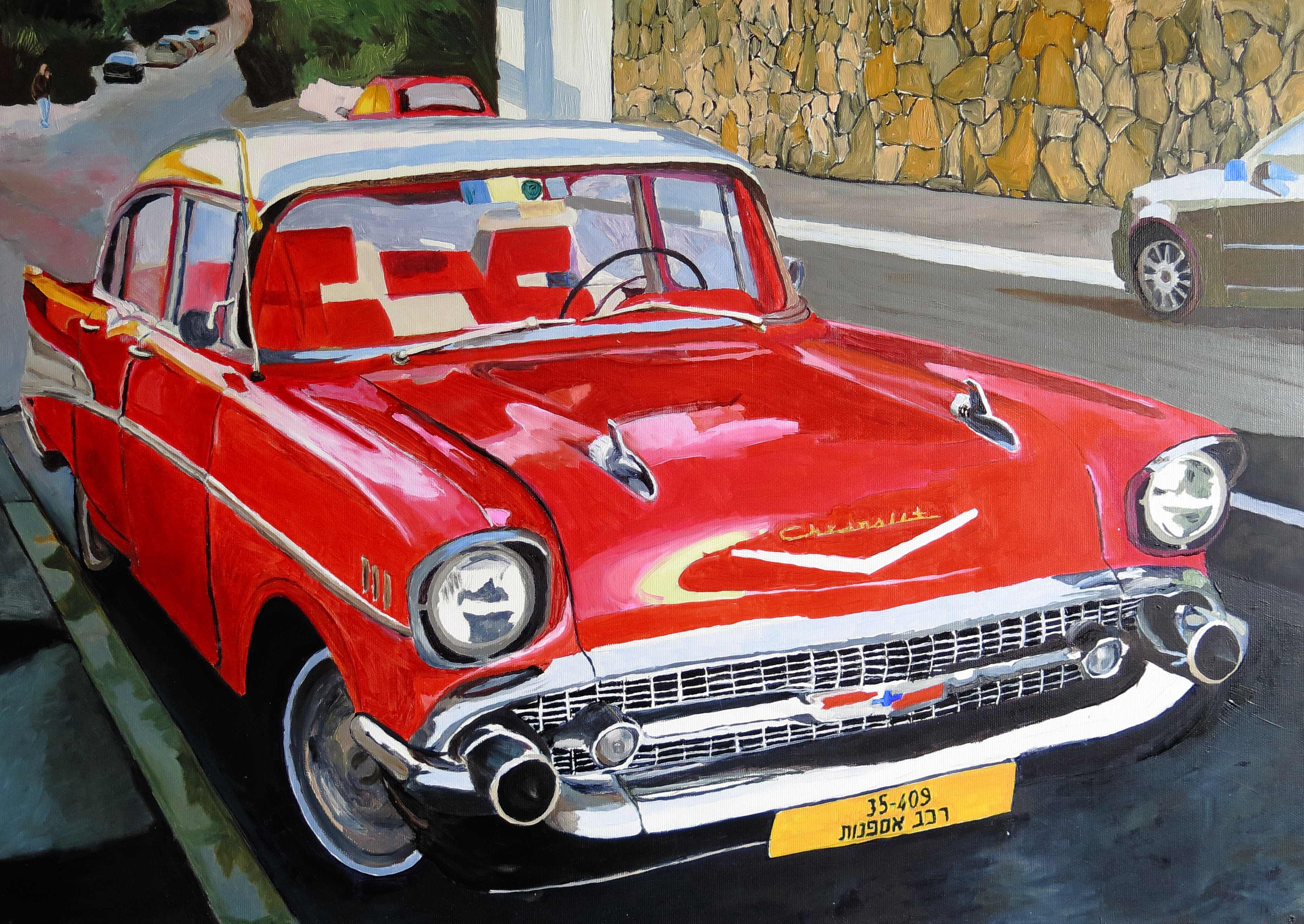 Red chvrolet old car Oil on canvas w70xh50cm 2016 1m art@ryair.co.il ...