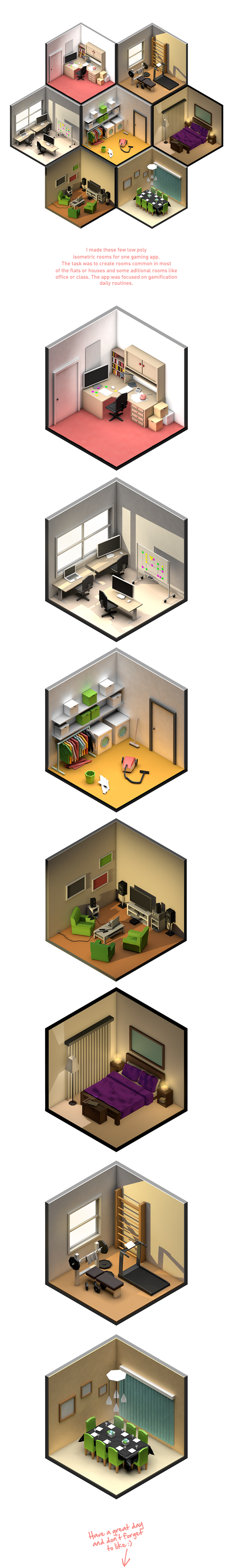Low Poly rooms by Petr Kollarcik, via Behance