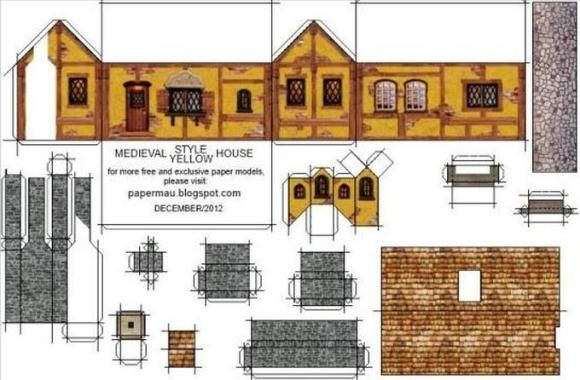 Free Printable Miniature Templates Papermau Meval Style House Paper Model By