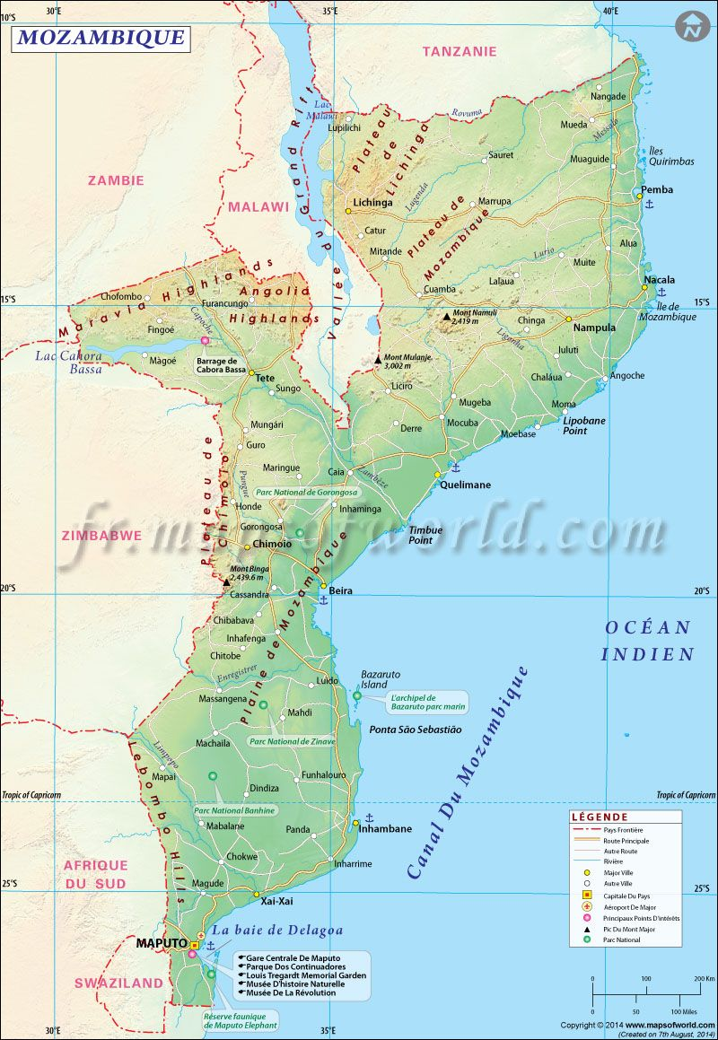 Mozambique Carte Map Of Mozambique Carte Du Monde