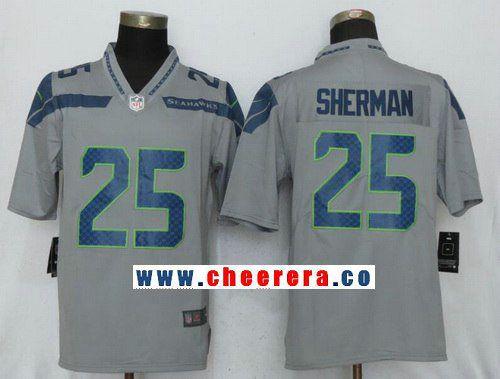 Men s Seattle Seahawks  25 Richard Sherman Gray 2017 Vapor Untouchable  Stitched NFL Nike Limited Jersey d993141cb