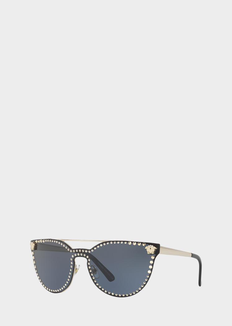 4f0672191e Versace Black Mirror Stud Sunglasses for Women