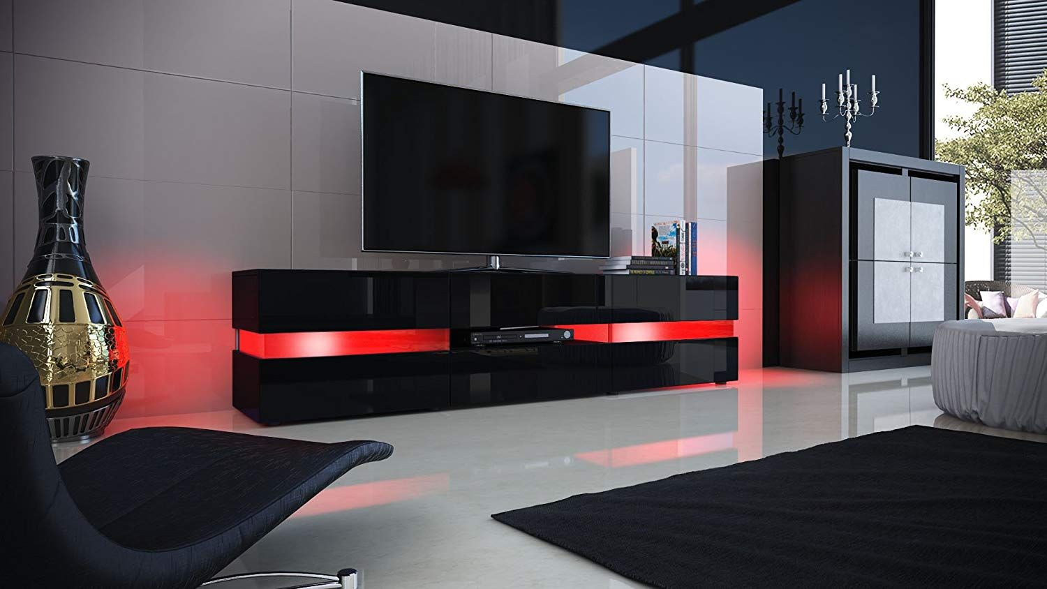 Best Vladon Tv Unit Cabinet Flow Carcass In Black High Gloss 400 x 300