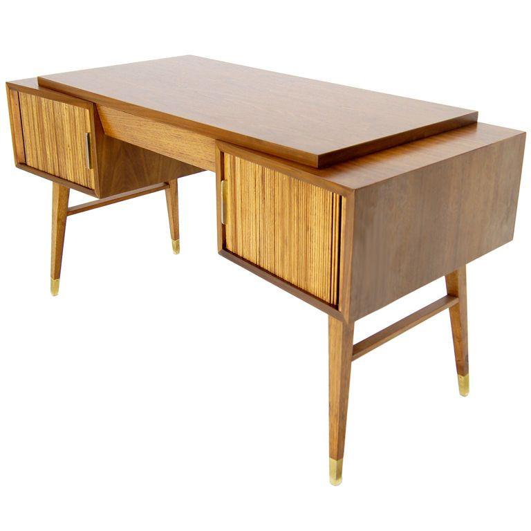 50s Mid Century Modern Walnut Tambour Doors Desk