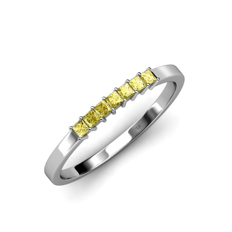 This is a beautiful 0.35 ct tw 7 stone Wedding Band With September Birthstone Yellow Sapphire, representing Good Fortune.